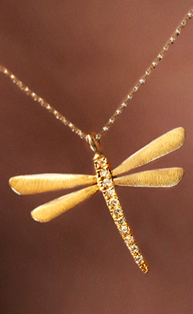 14K Gold Dragonfly Necklace with Diamonds